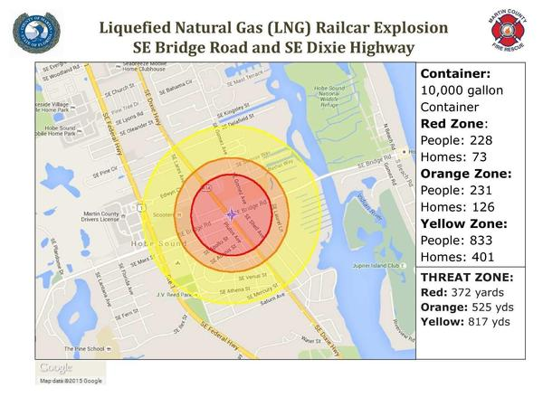 LNG explosion radius map, Martin County Fire Rescue