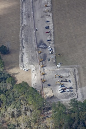 Sabal Trail pipe going into the ground, 30.3841030, -83.1753430