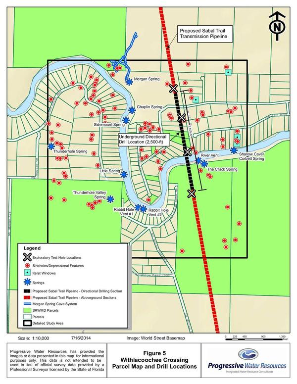 300x388 Parcel Map and Drill Locations: Figure 5 Withlacoochee Crossing, in Hydrogeology Report: Sabal Trail methane pipeline crossing of Withlacoochee River, by David Brown, for WWALS.net, 22 August 2014