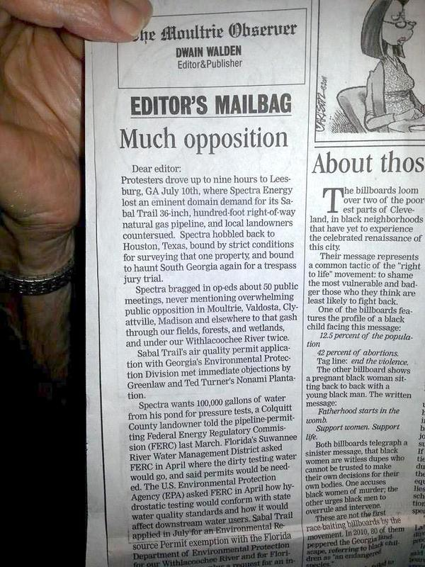 600x800 Much opposition, in Moultrie Observer, WWALS op-ed against Sabal Trail, by Haley Hyatt, for WWALS.net, 1 August 2014