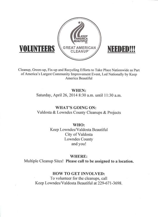 600x825 Volunteers Needed, in Lowndes/Valdosta Rivers Alive Cleanup, by KLVB, for WWALS.net, 4 October 2014