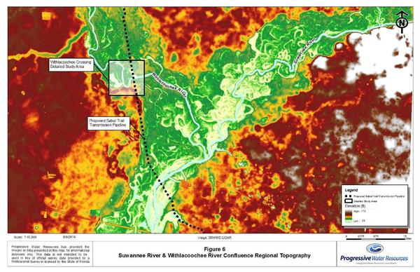 600x388 Confluence Regional Topography, Suwannee River & Withlacoochee River, in Hydrogeology Report: Sabal Trail methane pipeline crossing of Withlacoochee River, by David Brown, for WWALS.net, 22 August 2014