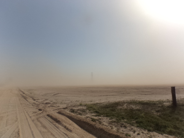600x450 Low visibility to power line tower, in Dust Storm on Lakeland Sands land in Hamilton County, FL, by John S. Quarterman, for WWALS.net, 25 March 2014
