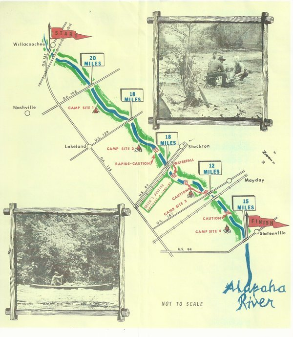600x689 Map and pictures, in Canoe Guide to the Alapaha River Trail, by John S. Quarterman, for WWALS.net, 0  1979