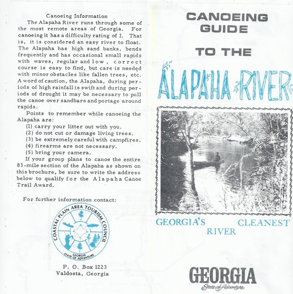 600x601 Canoeing Information, in Canoeing Guide to the Alapaha River, by John S. Quarterman, for WWALS.net, 0  1979