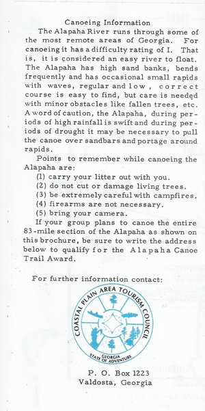 300x601 Information: Points to remember, in Canoeing Guide to the Alapaha River, by John S. Quarterman, for WWALS.net, 0  1979