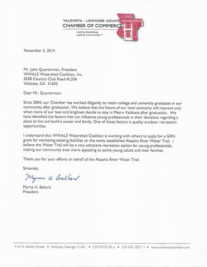 300x387 Letter from Valdosta-Lowndes County Chamber of Commerce, in Thank you for your efforts on behalf of the Alapaha River Water Trail, by Myrna Ballard, for WWALS.net, 5 November 2014