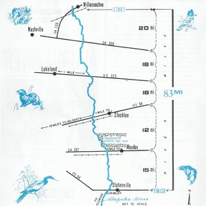 300x300 Map from Willacoochee to Statenville, in Canoeing Guide to the Alapaha River, by John S. Quarterman, for WWALS.net, 0  1979
