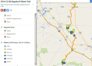300x214 ARWT FL Legend, in Alapaha River Water Trail draft map, by John S. Quarterman, for WWALS.net, 8 December 2014