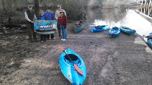 300x169 Boats and banner, in Alapaha deadfalls, by John S. Quarterman, for WWALS.net, 17 January 2015