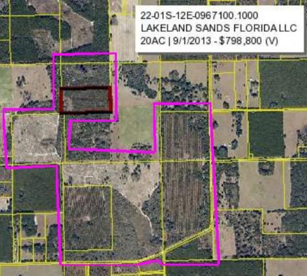 600x540 Seven parcels, in Bill Gates in Suwannee County, FL, by John S. Quarterman, for WWALS.net, 4 January 2015