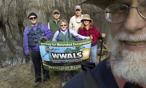 300x180 Banner selfie, in Alapaha deadfalls, by John S. Quarterman, for WWALS.net, 17 January 2015