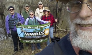 300x180 Banner selfie2, in Alapaha deadfalls, by John S. Quarterman, for WWALS.net, 17 January 2015
