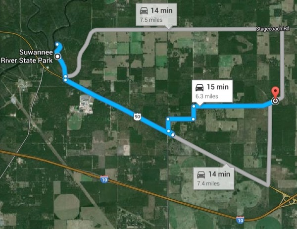 600x462 Location: Stagecoach Road, US 90, and I-10, in Bill Gates in Suwannee County, FL, by John S. Quarterman, for WWALS.net, 4 January 2015