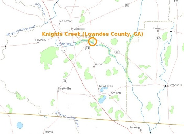 600x438 Knights Creek in Valdosta, in Knights Creek, Valdosta, Georgia, by USGS Streamer, for WWALS.net, 28 February 2015