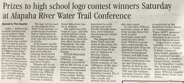 600x272 Just the story, in Prizes to high school logo contest winners Saturday at Alapaha River Water Trail Conference, by Tifton Gazette, for WWALS.net, 13 March 2015