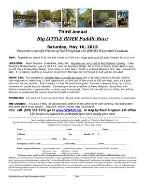 300x388 Flyer, in Third Annual BIG Little River Paddle Race, by John S. Quarterman, for WWALS.net, 16 May 2015