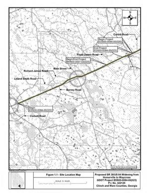 300x388 Figure 1.1: Map, Main Street, in US 84 four-laning from Homerville to Waycross, by John S. Quarterman, for WWALS.net, 28 April 2015