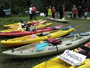 Pipelines Explode! A sign on every kayak 30.8879108, -83.3241730