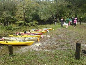 Kayaks and students 30.8867588, -83.3232040