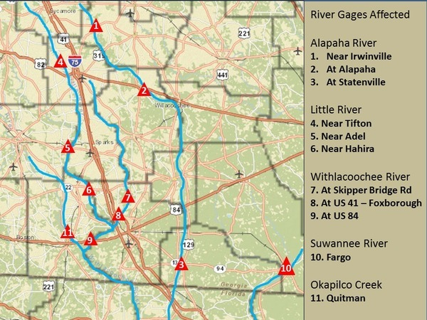 Locator Map: Central South Georgia USGS Gages