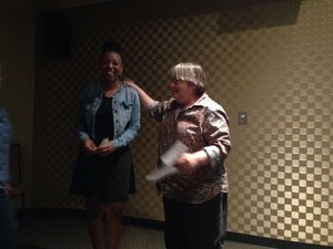 Eboni Patterson presented Logo First Prize by Julie Bowland
