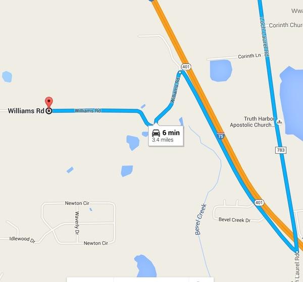 Loch Laurel Road to Williams Road --Google Maps