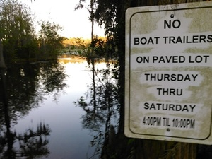 No Boat Trailers on Paved Lot Thursday Thru Saturday 4PM til 10PM