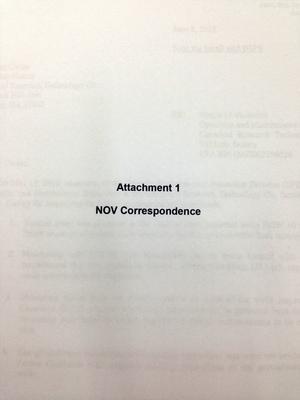 Attachment 1 NOV Correspondence