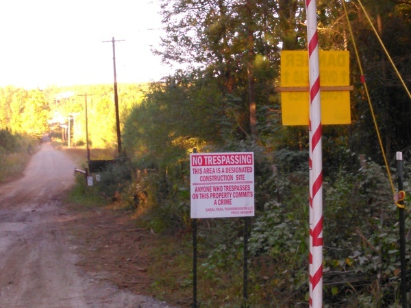 No Trespassing, Designated Construction Site, Oaktasasi Rd.,