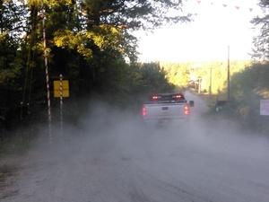 Truck, dust, Oaktasasi Rd., 32.9948510, -85.9003810