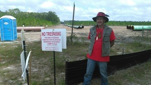 Gregory Payne outside Sabal Trail No Trespassing zone, 30.3553680, -83.1567710