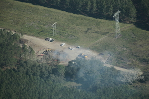 Smoking equipment at sinkhole between power lines, 30.2160250, -83.0315010