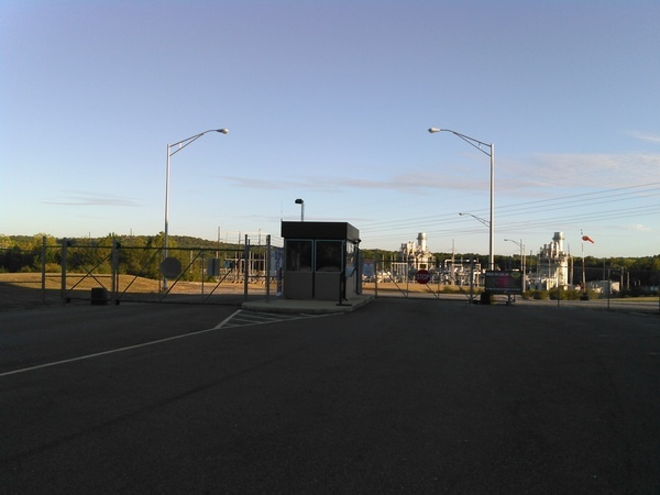 Entrance gate, Hillabee Power Plant, Brick Plant Rd.,