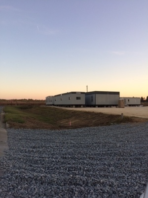 Gravel and temporary buildings