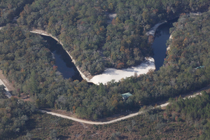 W across Suwannee to Slide on River, 30.4068940, -82.9449790
