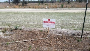 No Trespassing on easement taken by eminent domain 30.4012850, -83.1529357