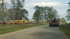 Lowndes County School Bus, McGoggle Road, Troy Access, Troy pipe truck, 30.7484302, -83.4029359