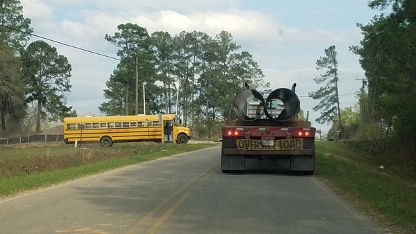 Lowndes County School Bus, Troy pipe truck,