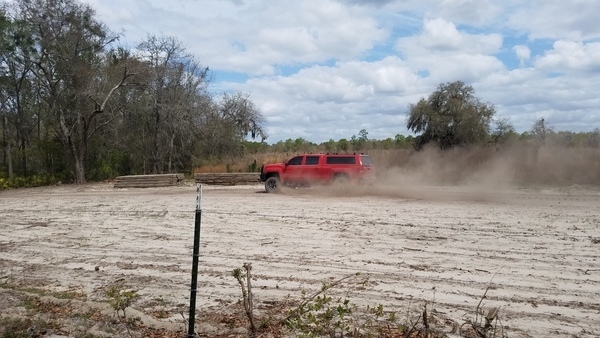 Winterhawk red truck going to Suwannee River HDD