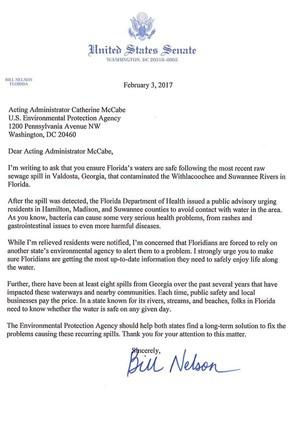 FL Sen. Bill Nelson to EPA