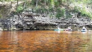 Orange and yellow water, limestone cliff, 30.3780694, -82.8911194