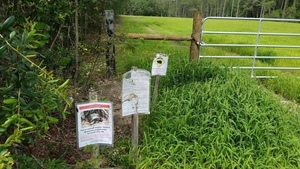 Wildlife signs at Martin Lane HDD site entrance 30.7935827, -83.4515166