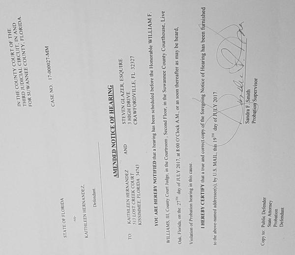 Amended Notice of Hearing