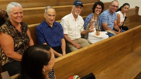 Waiting: Pam Smith, Cindy Noel, Mike Roth, Pete Ackerman, Kaithleen Hernandez, father, mother