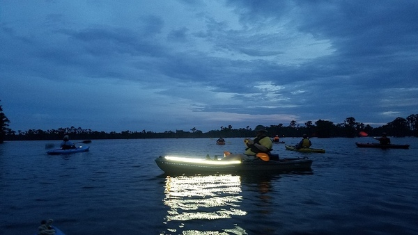 Paddling Banks Lake with lights at dusk