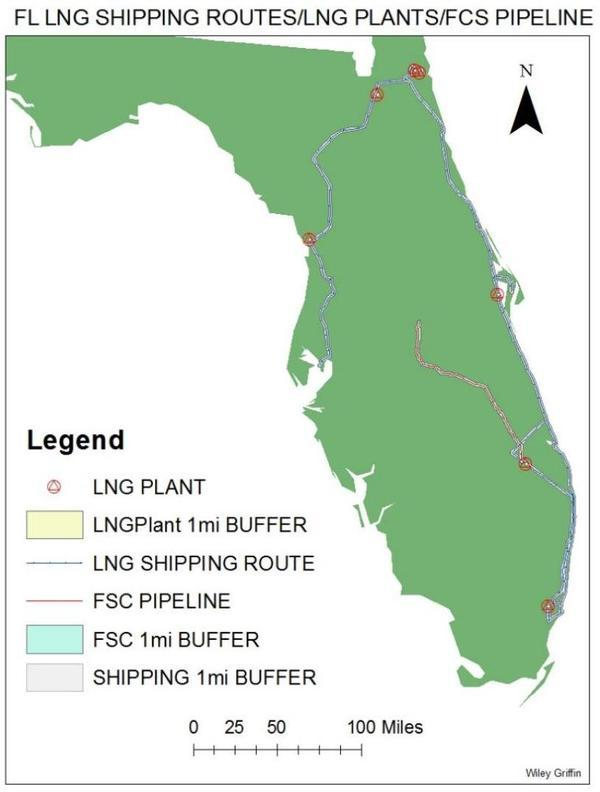 [Florida LNG shipping routes, plants, and pipeline]