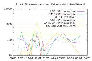 [E. coli Graph, Withlacoochee River Basin]