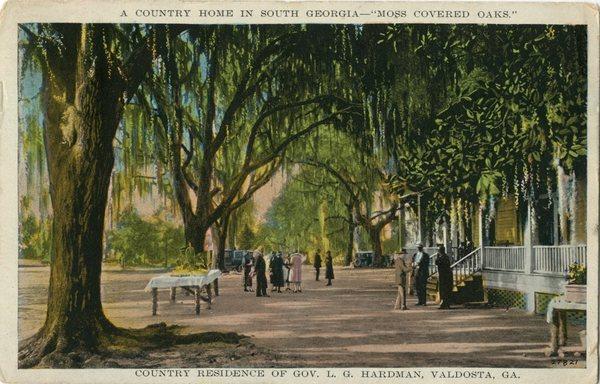[Gov. L.G. Hardman Home near Valdosta Post Card 1928]