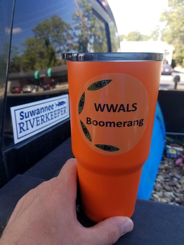 [Boomerang logo on tumbler]